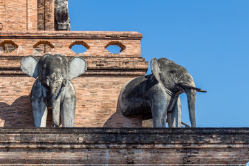 Details of elephant sculptures in Wat Chedi Luang, Chiang Mai, northern Thailand