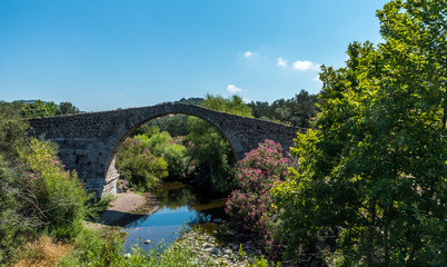 Ancient bridge of Kremasti on Lesvos island in Greece