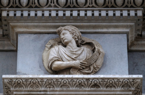 Prophet Malachi, relief on the portal of the Cathedral of Saint Lawrence in Lugano, Switzerland
