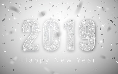 Happy New Year 2019, silver numbers design of greeting card, Vector illustration