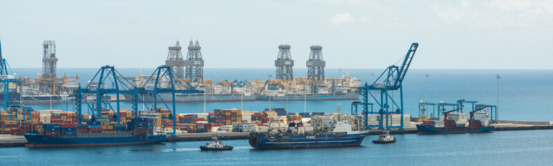 aerial view onvessel being towed out of Port of Las Palmas in Gran Canaria
