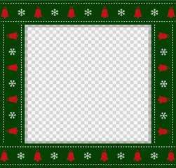 Vector square template, christmas photo frame, scrapbook element with copy space