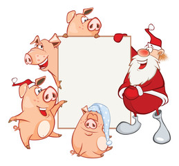 Garden Poster Baby room Merry Christmas Card Illustration of Cute Santa Claus and Pigs Astrological Sign in the Zodiac Cartoon Character