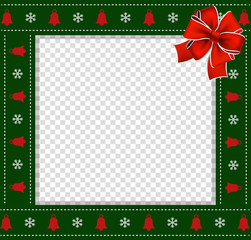 Christmas or new year green border with snowflakes and bells pattern, red bow