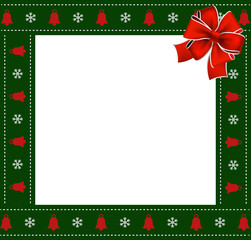 Christmas or new year green border with snowflakes and bells ornament, red ribbon
