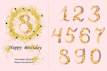 Vector set with golden confetti wreath and numbers. Design elements for baby birth, birthday party, greeting card, invitation.