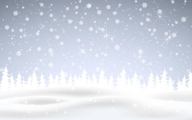 Winter is coming. Christmas, snowy night woodland landscape with falling snow, firs, snowflakes for winter and new year holidays. Xmas winter background