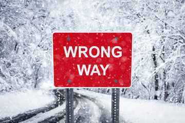 Warning traffic sign on a ice road