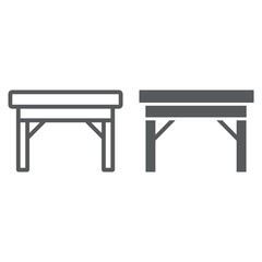 Table line and glyph icon, furniture and home, desk sign, vector graphics, a linear pattern on a white background.