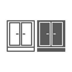 Wardrobe line and glyph icon, furniture and home, cupboard sign, vector graphics, a linear pattern on a white background.