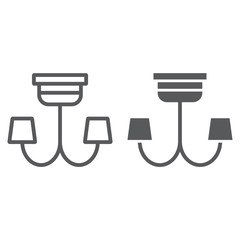 Chandelier line and glyph icon, furniture and home, lamp sign, vector graphics, a linear pattern on a white background.