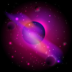 Vector illustration with space. Cosmic background with planets.