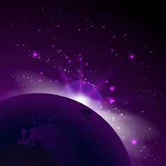 Vector illustration with space and planets. Cosmic background with sunrise.