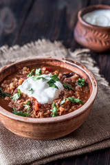 Mexican spicy red lentil stew