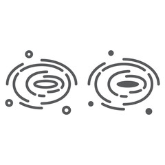 Black hole line and glyph icon, cosmos and space, galaxy sign, vector graphics, a linear pattern on a white background.