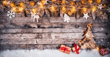 Decorative Christmas rustic background with gifts