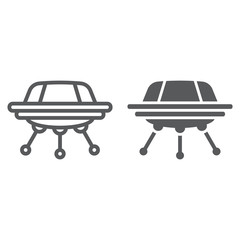 UFO line and glyph icon, space and spacecraft, spaceship sign, vector graphics, a linear pattern on a white background.