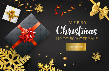 Merry Christmas promo poster with top view gifts, shiny snowflakes and golden bow.