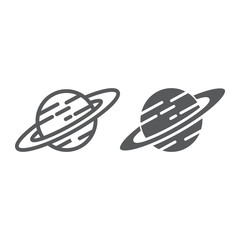 Saturn line and glyph icon, astronomy and space, planet sign, vector graphics, a linear pattern on a white background.