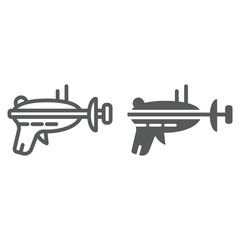 Blaster line and glyph icon, space and weapon, laser blaster sign, vector graphics, a linear pattern on a white background.