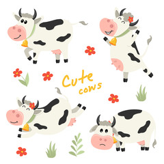 Set of cute Cows character in various positions