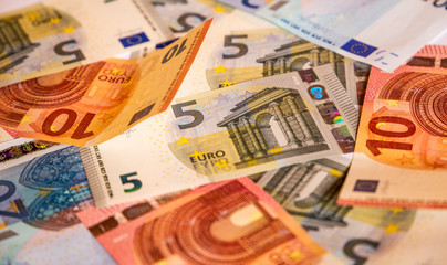 Pile of paper euro banknotes.