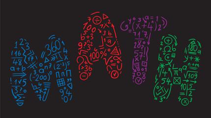 math symbols hand drawn, mathematics mark black background illustration vector