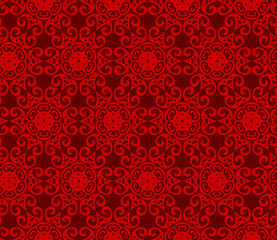 Vector ornament seamless pattern wallpaper, traditional oriental style with red color