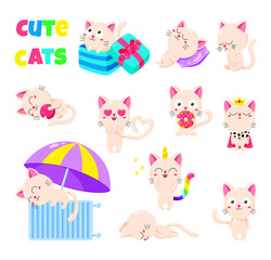 Collection of cute vector cats. Doodle character for print, web design, postcards. Set of stickers