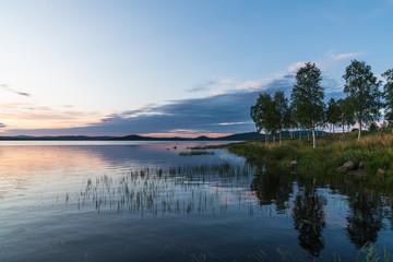 Finland, Lapland, twilight above stunning lake