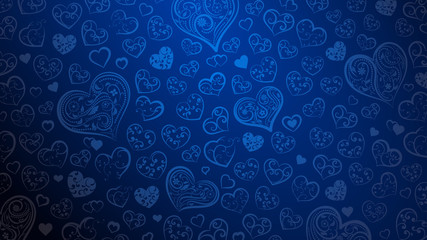 Background of big and small hearts with ornament of curls and flowers, in blue colors
