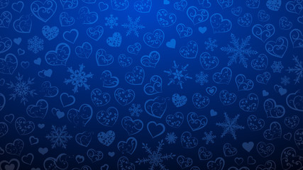 Background of snowflakes and hearts with ornament of curls, in blue colors