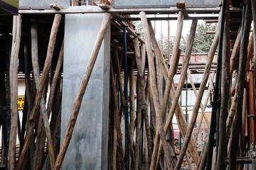 wooden scaffolding in kalka in india