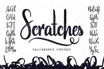 """Vintage handcrafted script typeface named """"Scratches"""""""