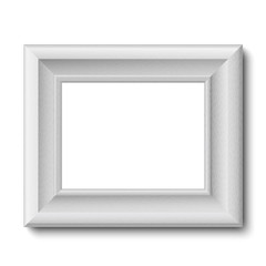 White wooden vintage frame isolated on white. Vector frame template placed horizontally.