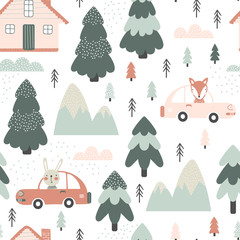 Seamless pattern with animals in cars