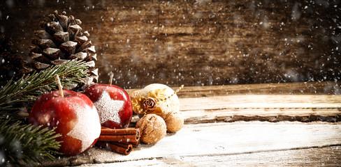 Christmas retro desk and snowflakes