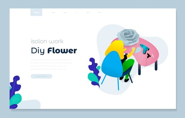 Web page design templates cover for diy flower, isolon work vector illustration concepts for website