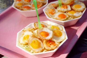 Quail eggs at street food
