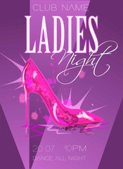 Ladies night poster illustration with high heeled shoes.