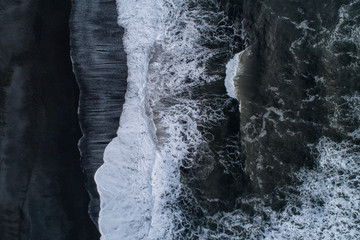 Black beach waves