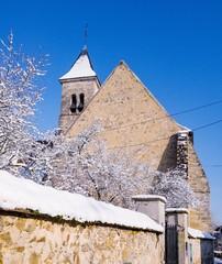 Snow over church