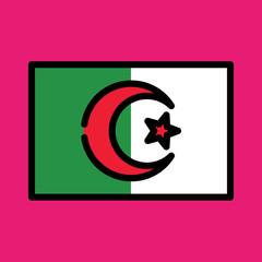 algeria flag icon. flat design