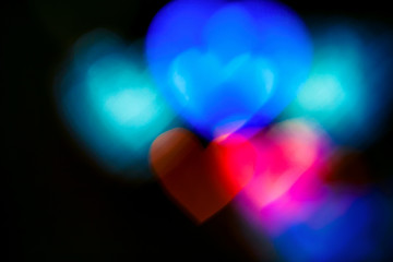 Colourful heart bokeh background. For Christmas and Valentine's day greeting cards, invitations, flyers, perfect for blog posts, banners and social networks