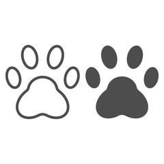 Paw line and glyph icon. Pad vector illustration isolated on white. Foot outline style design, designed for web and app. Eps 10.