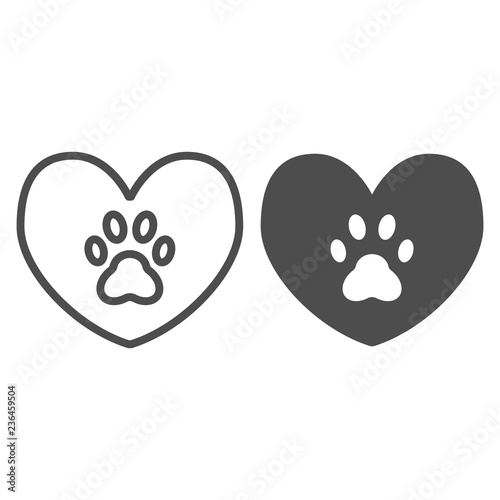 Heart with dog paw line and glyph icon  Heart and paw print