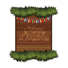 merry christmas in frame of wooden icon