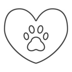 Heart with dog paw thin line icon. Heart and paw print vector illustration isolated on white. Animal footprint in heart outline style design, designed for web and app. Eps 10.