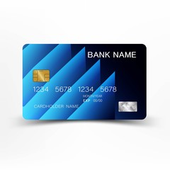Modern credit card template design. With inspiration from the line abstract. Blue color on gray background. Glossy plastic style.
