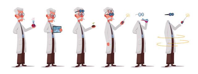 Set of scientist character. Mad professor